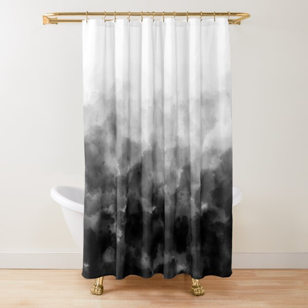 Ombre Black and White Minimal Shower Curtain