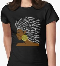 Black is Beautiful Typography Hair Art for Black Women Women's Fitted T-Shirt