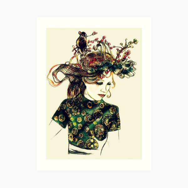 Foreign Slippers, Lady in a Birds Nest Hat with Chinese Dress Art Print