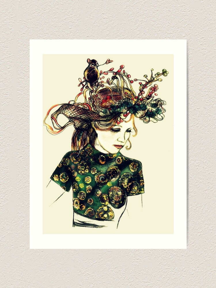 Alternate view of Foreign Slippers, Lady in a Birds Nest Hat with Chinese Dress Art Print