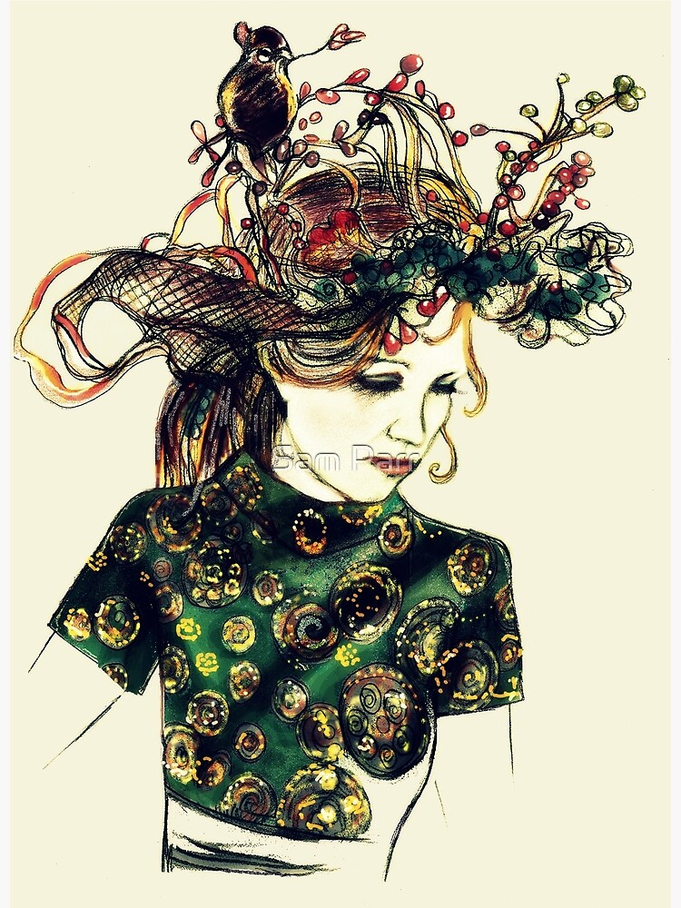 Foreign Slippers, Lady in a Birds Nest Hat with Chinese Dress by SamJane