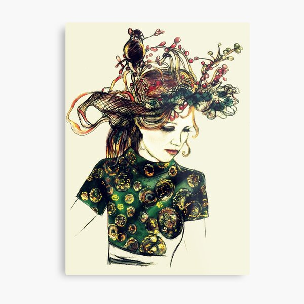 Foreign Slippers, Lady in a Birds Nest Hat with Chinese Dress Metal Print