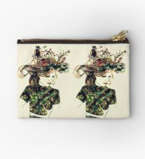 Foreign Slippers, Lady in a Birds Nest Hat with Chinese Dress Studio Pouch