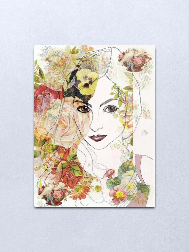 Alternate view of Lady of the Flowers Metal Print