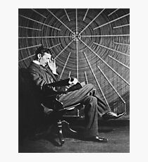 Nicola Tesla, sitting in front of a spiral coil Photographic Print