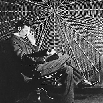 Nicola Tesla, sitting in front of a spiral coil by TOMSREDBUBBLE