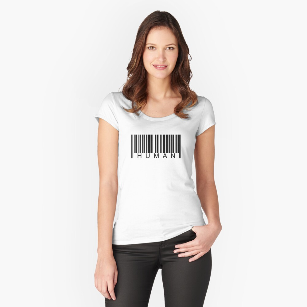 Human Barcode Fitted Scoop T-Shirt
