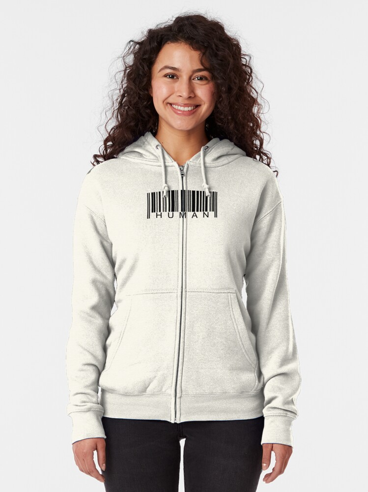 Alternate view of Human Barcode Zipped Hoodie