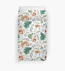 Foxes, ferns, and leaves pattern Duvet Cover