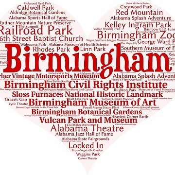 Heart of Birmingham Red Heart Word Cloud Products by Mel747