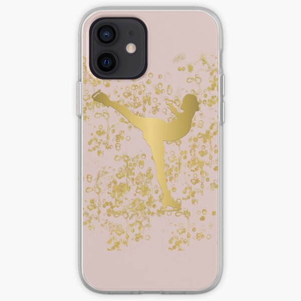 Figure Skater in Golden Flakes and Pink-Graphic Design iPhone Soft Case