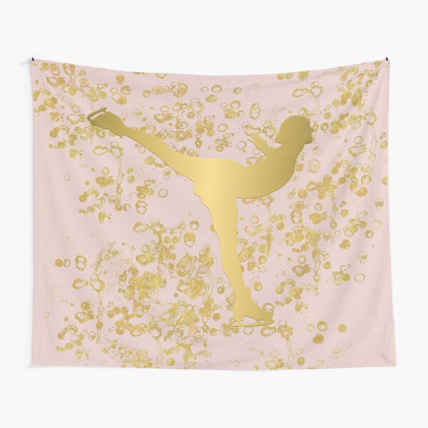 Figure Skater in Golden Flakes and Pink-Graphic Design Tapestry