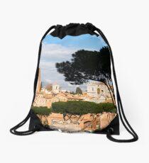Ancient Rome city skyline with Trajan's Forum Drawstring Bag