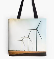 Rural landscape with working wind turbine Tote Bag