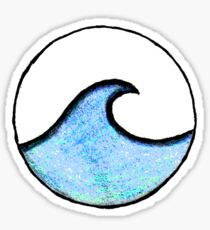easy blue with vivid teal wave circle Sticker