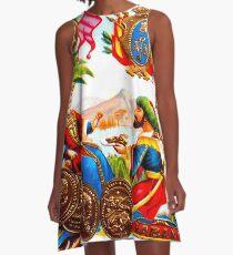 CUBA : Vintage Habana Cigar Advertising Print A-Line Dress