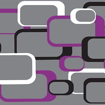 Purple White Black Retro Square Pattern Gray by ValeriesGallery