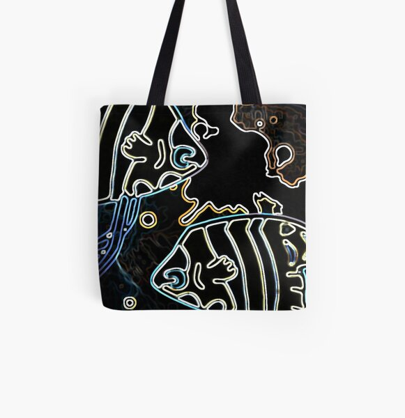 Blue Water Fish Dark Night All Over Print Tote Bag
