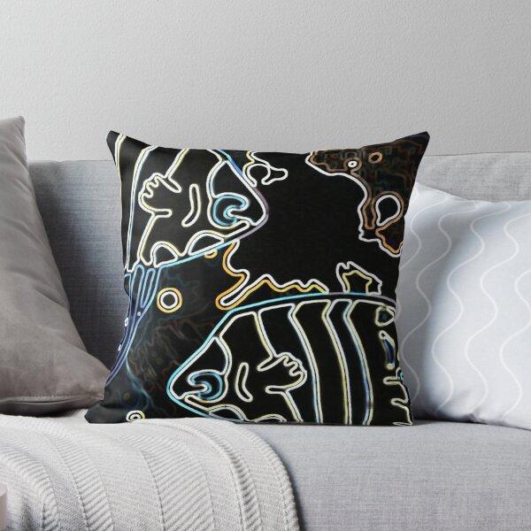 Blue Water Fish Dark Night Throw Pillow
