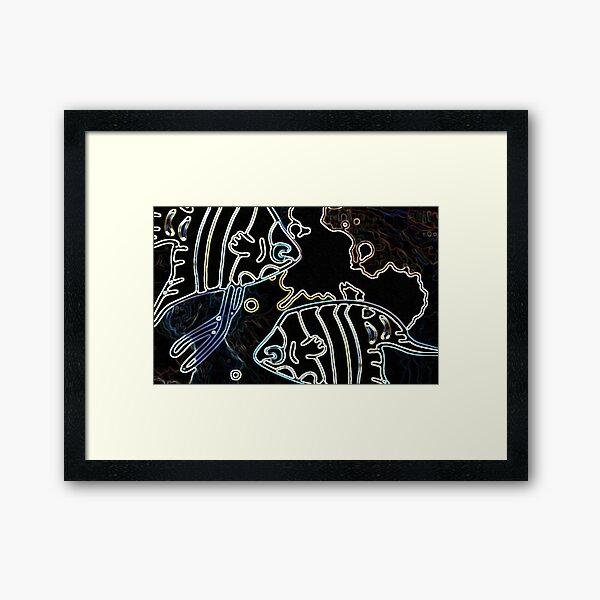 Blue Water Fish Dark Night Framed Art Print