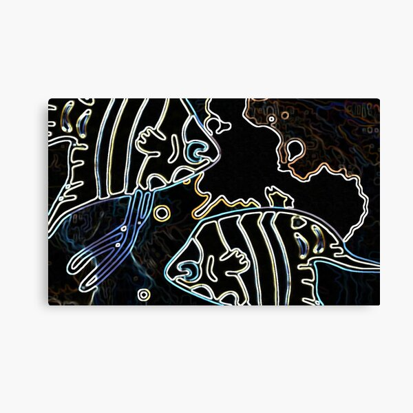 Blue Water Fish Dark Night Canvas Print