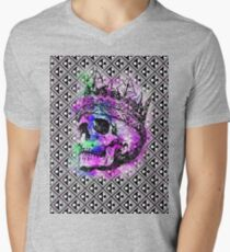 SKULL KING AND PATTERN Men's V-Neck T-Shirt