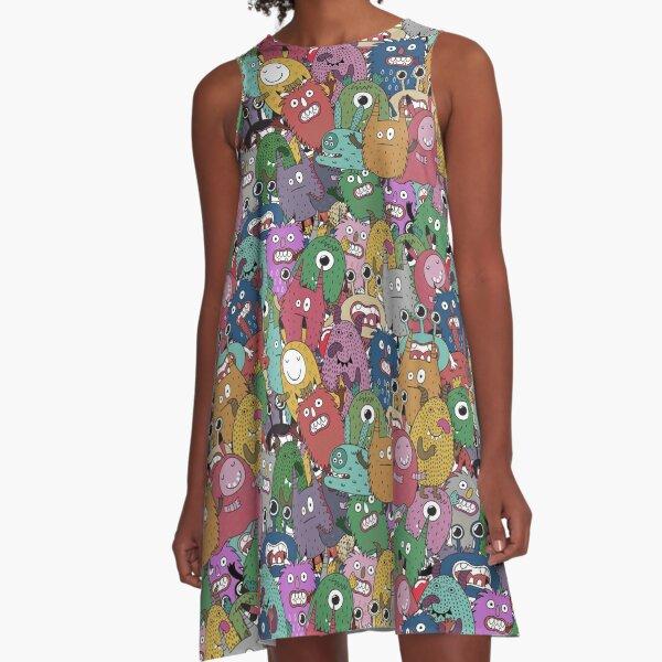 Monsterous City A-Line Dress