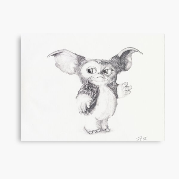 Gizmo from Gremlins Ballpoint Pen Drawing Metal Print