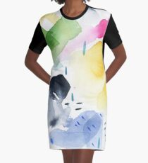 Spring Watercolor Abstract Graphic T-Shirt Dress