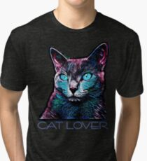 CAT LOVER CRASSCO RUSSIAN BLUE Tri-blend T-Shirt