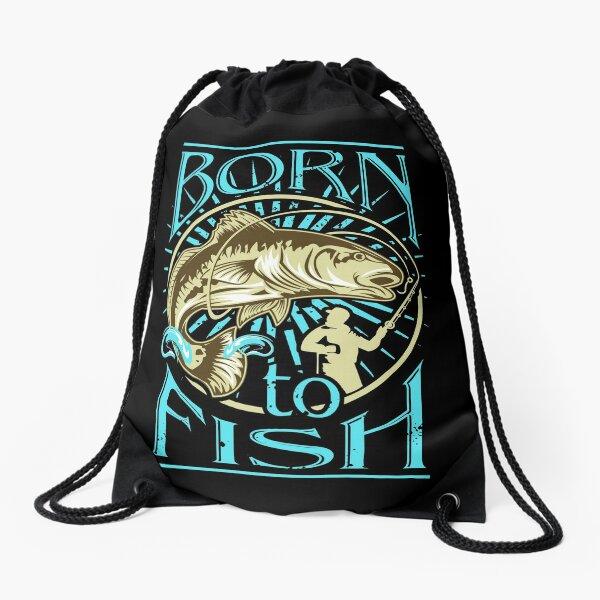 Born to Fish Drawstring Bag
