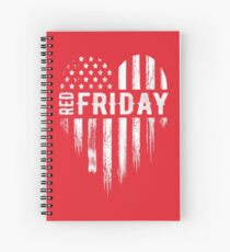 Distressed Red Friday USA Heart Military Spiral Notebook