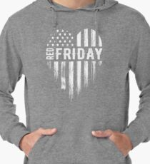 Distressed Red Friday USA Heart Military Lightweight Hoodie