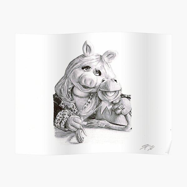 Kermit and Miss Piggy - Ballpoint Pen Poster