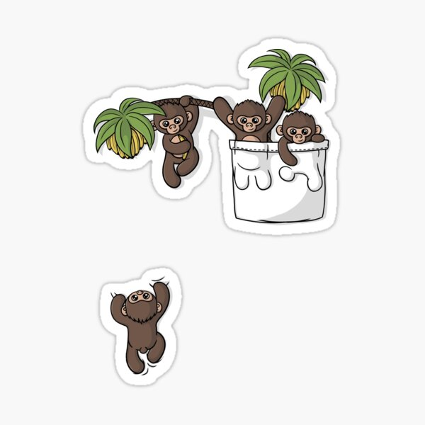 Cute Pocket Monkeys Sticker