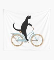 Cat on Bike Wall Tapestry