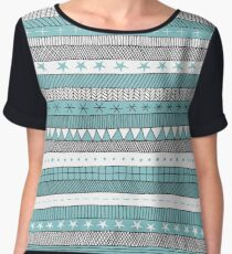 turquoise black and white patterned stripes Chiffon Top