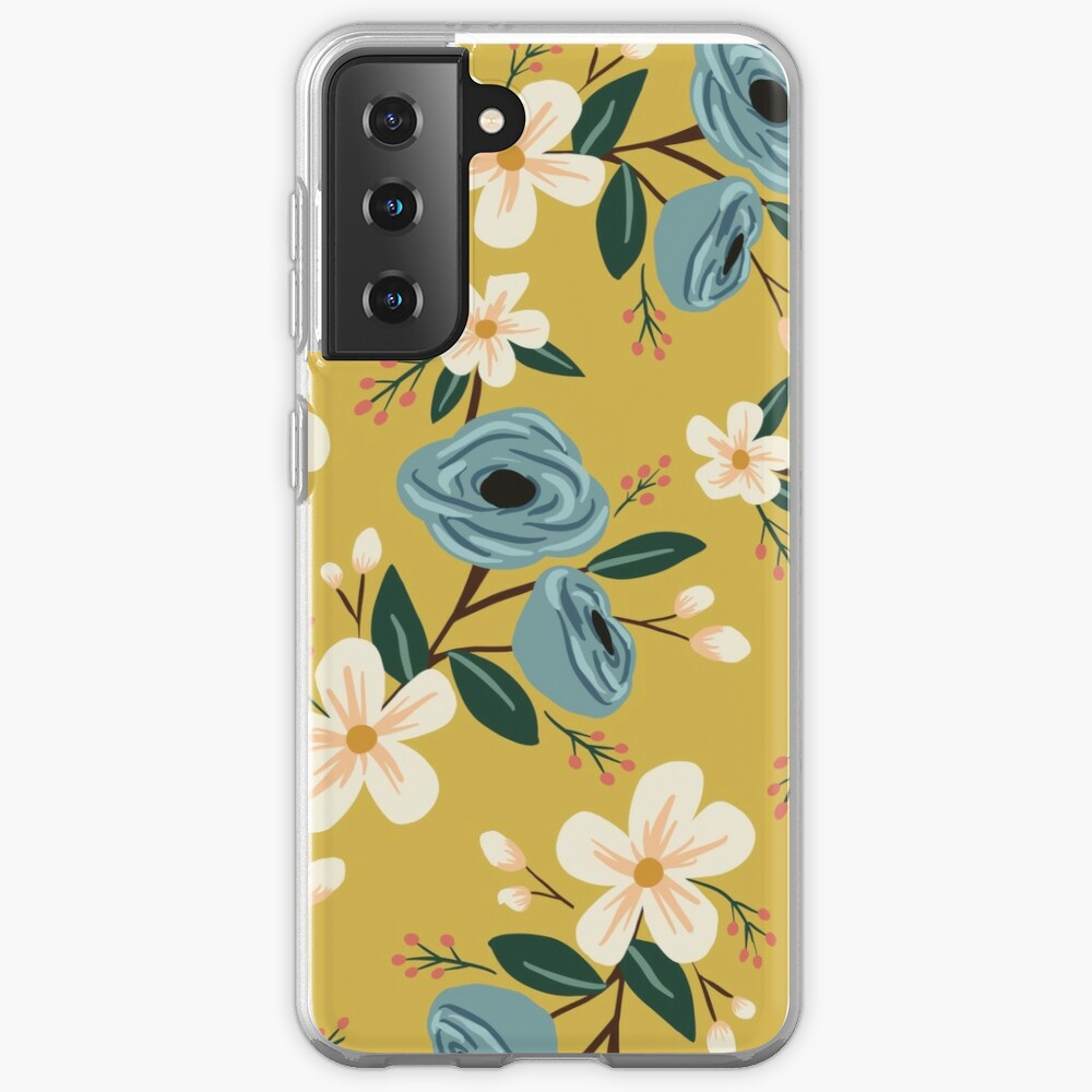 Yellow and Blue Floral Case & Skin for Samsung Galaxy