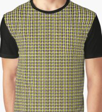 Black and Yellow Abstract Flower Pattern Graphic T-Shirt