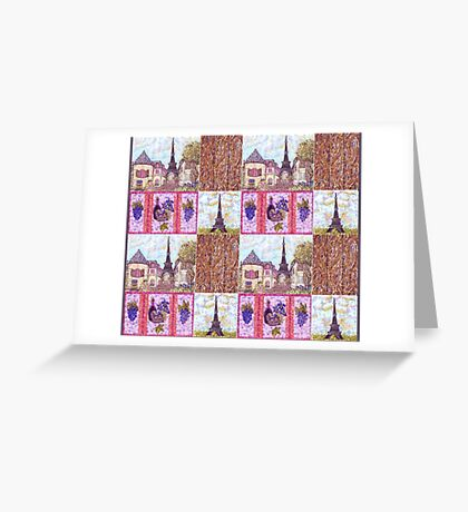Paris Inspired Pointillism Grapes Wine Wood by Kristie Hubler Greeting Card