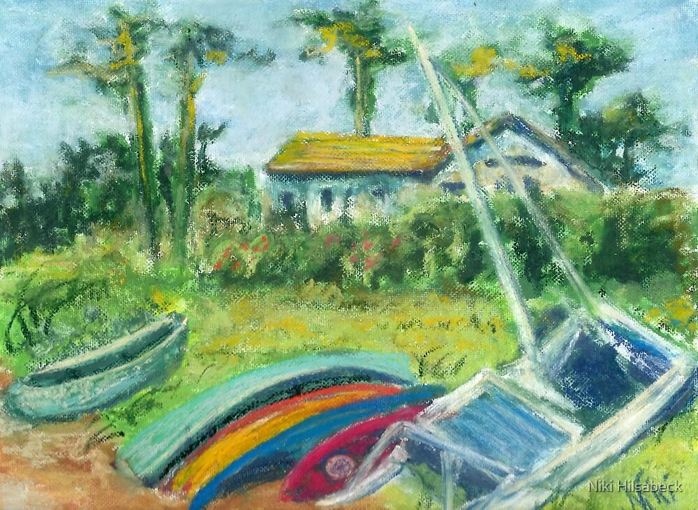 Baywood Boats (pastel) by Niki Hilsabeck