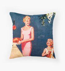 1950'S Rare Vintage Art - Mum and little girl Throw Pillow