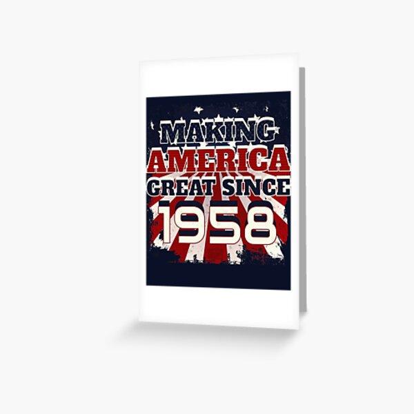 1958 Haciendo que Estados Unidos sea un gran patriótico nacido en Estados Unidos Tarjetas de felicitación
