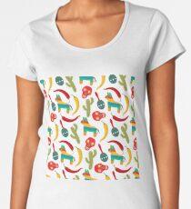 Pattern made of traditional Cinco de Mayo symbols. Mexican Fiesta Cinco de Mayo  Party Invitation.  Women's Premium T-Shirt