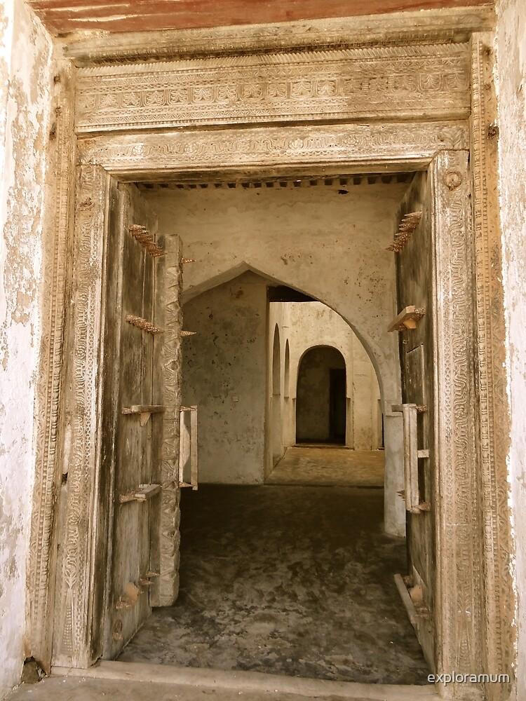 Old Lamu Town - carved old door and doorways by exploramum