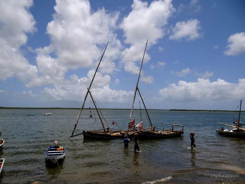 Lamu Island - wooden fishing dhows being unpacked by exploramum