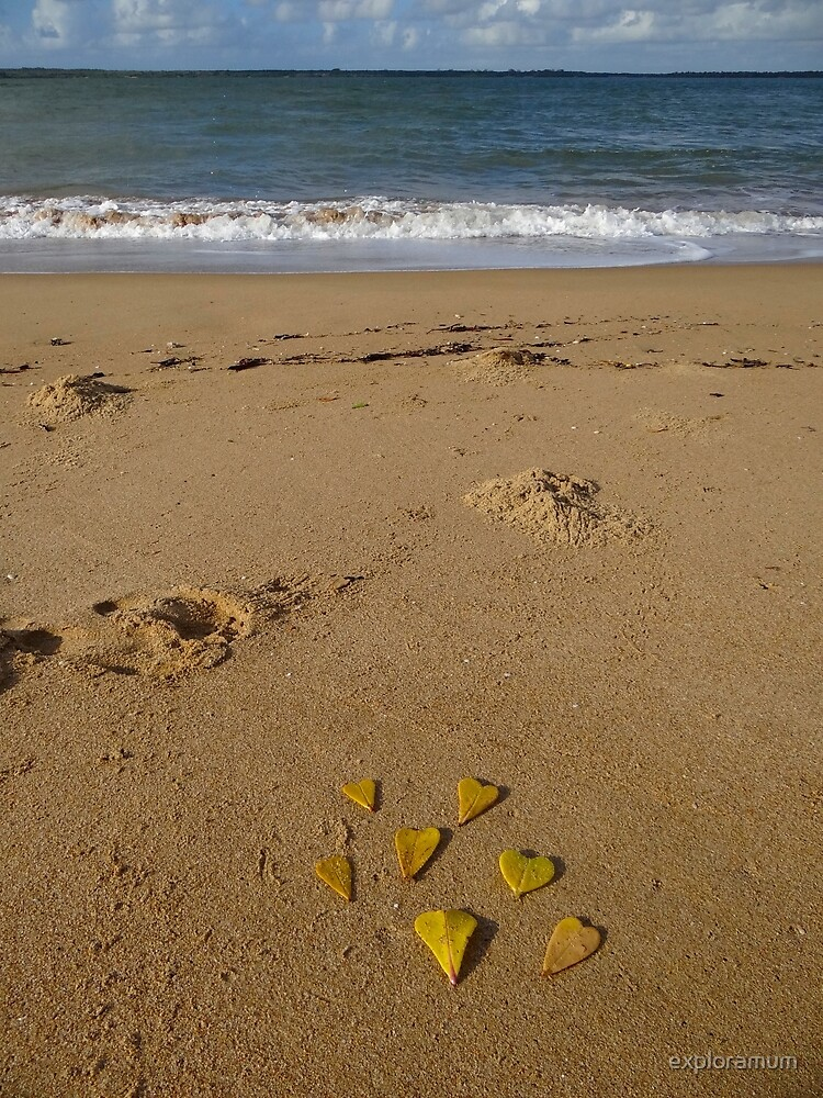 Leaves of love - on the beach by exploramum