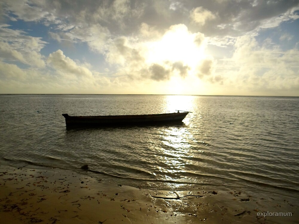 Kenyan wooden dhow at sunrise by exploramum