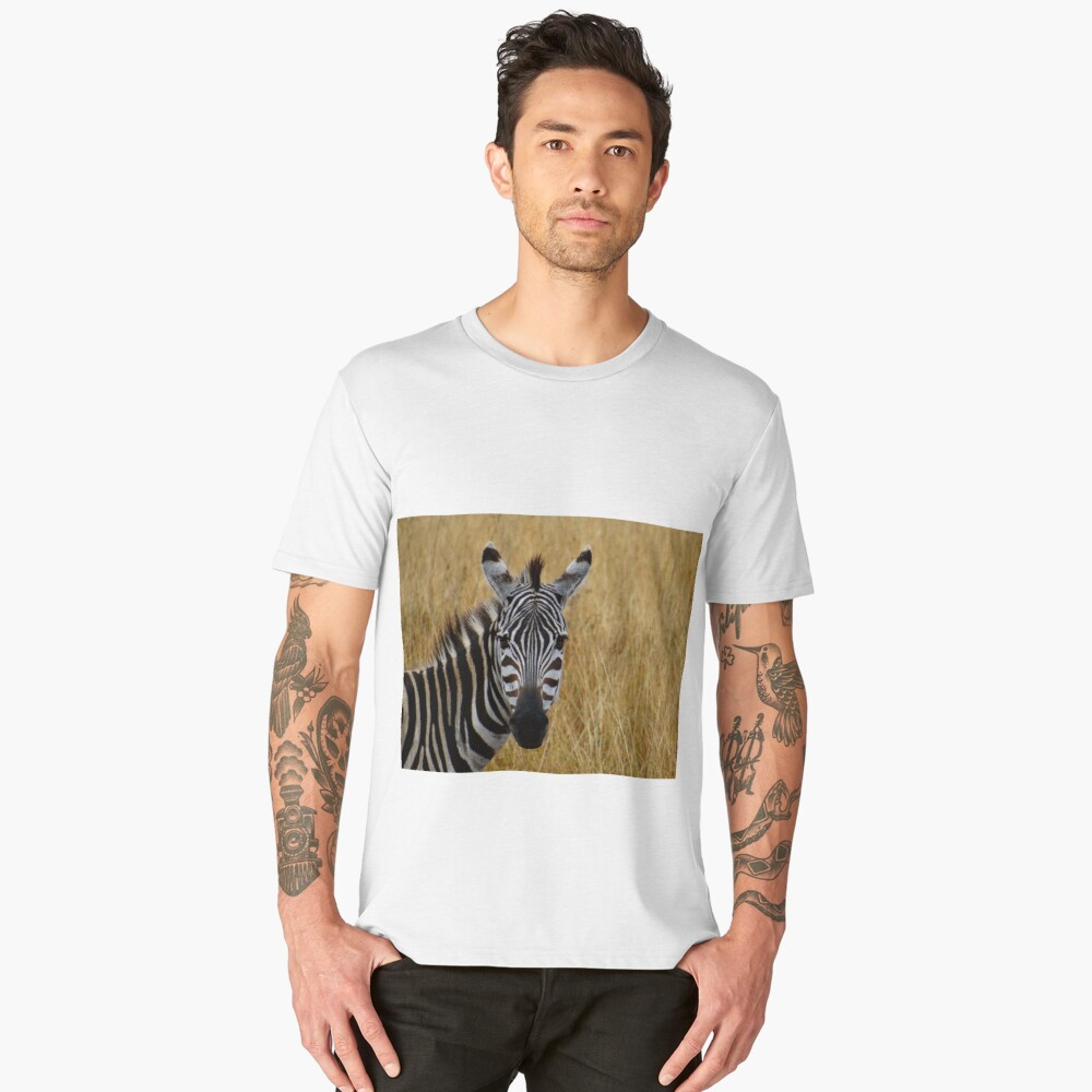 Zebra half shot face on Men's Premium T-Shirt Front