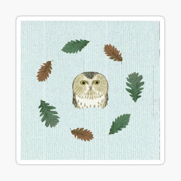 The owl and the oak Sticker